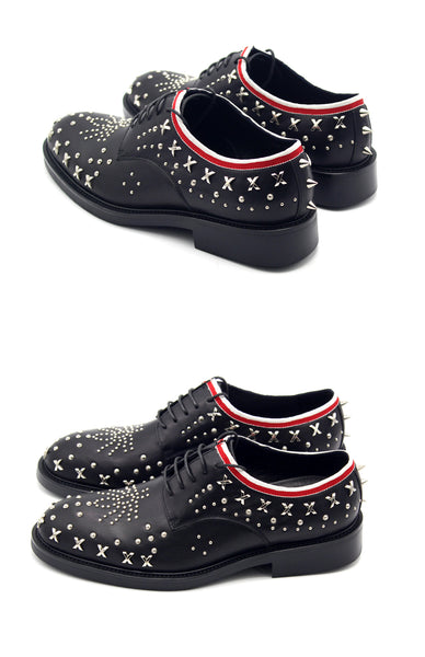 JINIWU VANGUARD BRITISH STUD STYLE SHOES WITH RIVET IN BLACK - boopdo