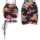 SINCE THEN TIE DETAIL CAMI CROP TOP WITH MATCHING MINI SKIRT IN RETRO FLORAL