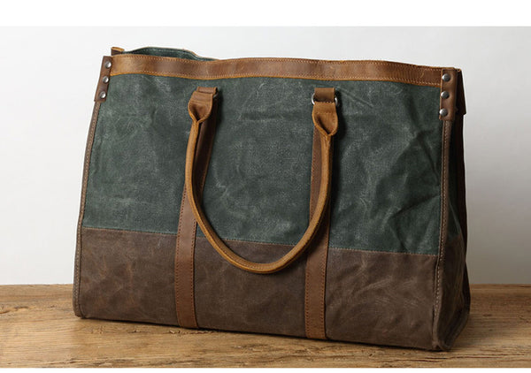 AMERIX RETRO CANVAS WATERPROOF LEATHER TRAVEL  BAG - boopdo