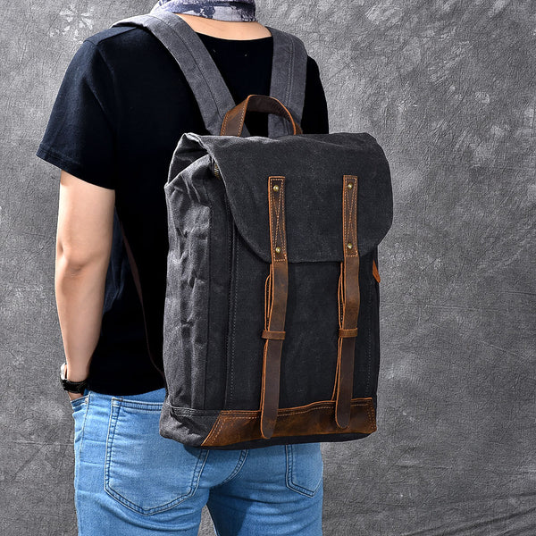 TWENTY FOUR STREET HANDMADE OIL WAX CANVAS DISTRESSED WATERPROOF 15 INCHES BACKPACK