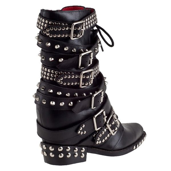 PROVAPERFETTO STUD AND BUCKLE BIKER WEDGE BOOTS 90221R - boopdo