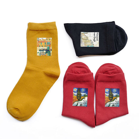 BOOPDO DESIGN ANKLE SOCKS WITH FAMOUS PAINTING PATCH PRINT