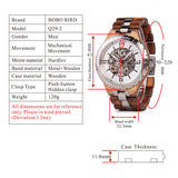BOBO BIRD MIYOTA JAPAN MECHANICAL DIAMOND STAINLESS STEEL LUMINOUS WOODEN WATCH