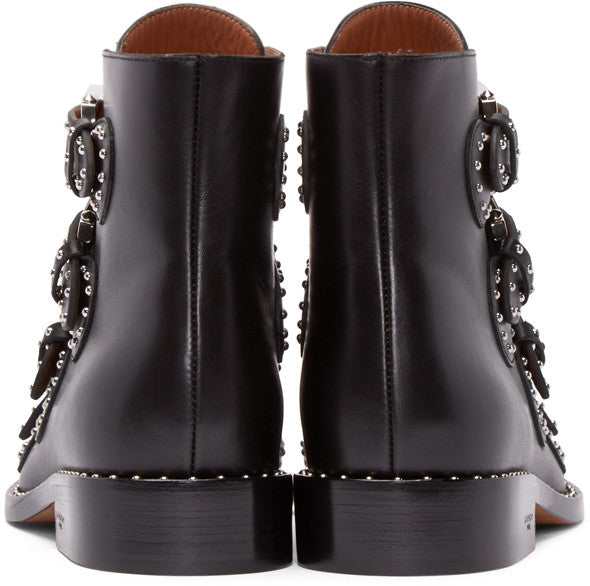 PARISHLIX POINTED TOE LEATHER BOOTS WITH RIVET IN BLACK