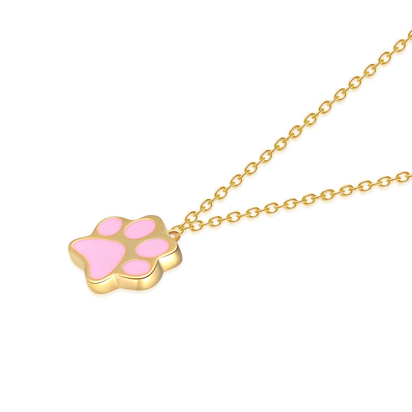 JELLY GIRL 925 STERLING SILVER TINY PAW DROP NECKLACE IN GOLD - boopdo