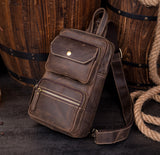 MANTIME BOOPDO HANDMADE 10 INCH LEATHER CHEST BAG IN KHAKI AND BROWN