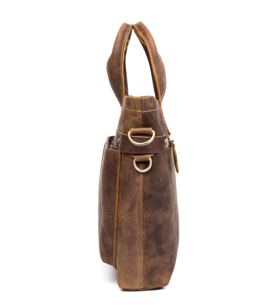 BOOPDO DESIGN MANTIME BUSINESS LEATHER MESSENGER BAG IN BROWN - boopdo