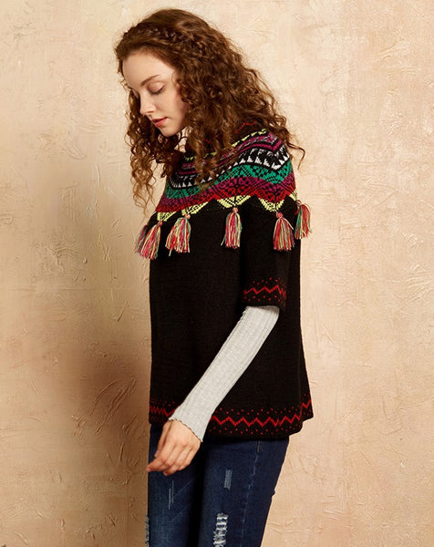 ARTKA SHORT SLEEVE JUMPER WITH EMBROIDERED TASSEL - boopdo