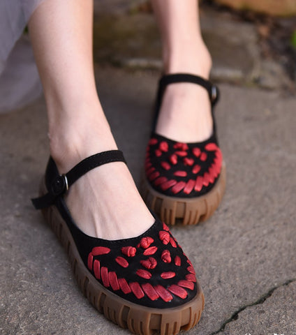 ARTMU CHUNKY LEATHER FLATFORM SHOES WITH WOVEN DETAIL