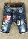 catent land wild badge patchwork denim jeans short pant in blue