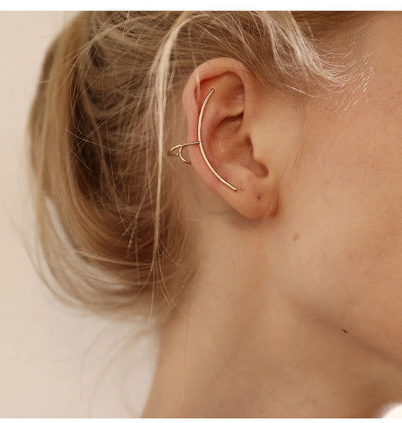 ZEGL CURVED GOLD PLATED EAR CUFF - boopdo