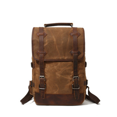 BOOPDO DESIGN OIL WAX CANVAS OUTDOOR 15 INCHES WATER BACKPACK - boopdo