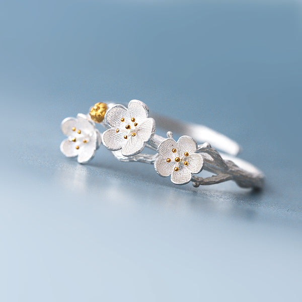 SILVER OF LIFE 925 ADJUSTABLE SILVER RING IN CHERRY BLOSSOMS DESIGN - boopdo