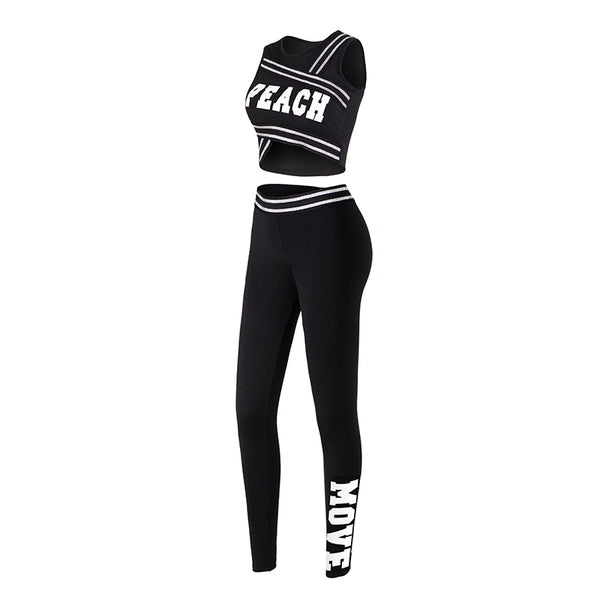 MIP SPORTS LOGO CROP TOP AND TAPE LEGGINGS IN BLACK