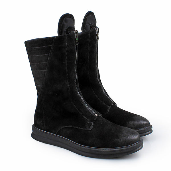 BARREL MATTE LEATHER CRAFT PLUSH HIGH TOP BLACK BOOTS - boopdo