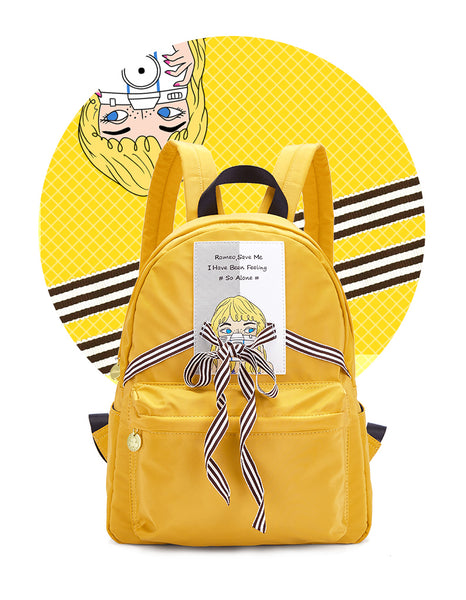 ARTMI COLLECTION WATER PROOF BACKPACK IN LEMON YELLOW AOG7795