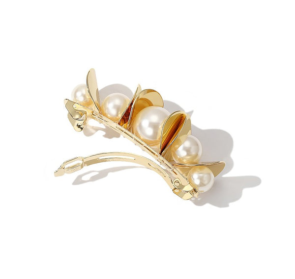 ZEGL PEARL DETAIL GOLD PLATED HAIR CLIPS