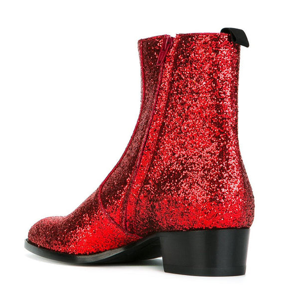 NADEMILI RHINESTONE TOE POINTED HIGH END CUSTOM ROSE RED CHELSEA BOOTS - boopdo
