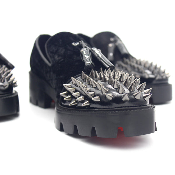 JINIWU VANGUARD PLATFORM BOTTOM SHOES WITH RIVET IN BLACK - boopdo