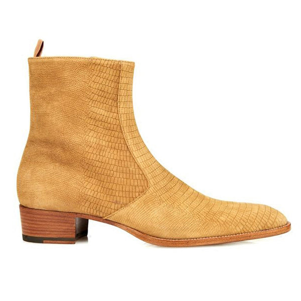 NADEMILI PLATFORM SOLE COWBOY LEATHER CHELSEA BOOTS - boopdo
