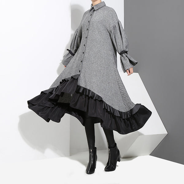 STELLA MARINA COLLEZIONE MID LENGTH PLEATED DRESS IN GRAY - boopdo