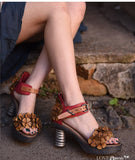 ARTMU EMBROIDERED LEATHER BLOCK HEELED SANDALS
