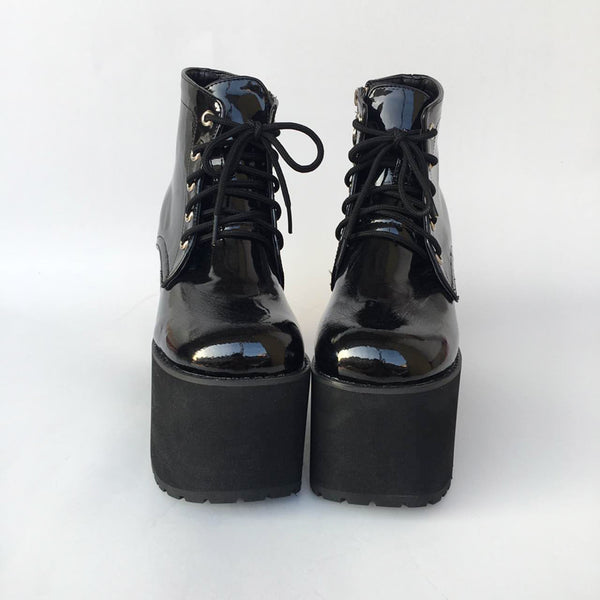MOMO GOTHIC JANE MARY PUNK STYLE HANDMADE PLATFORM BOOTS IN BLACK - boopdo
