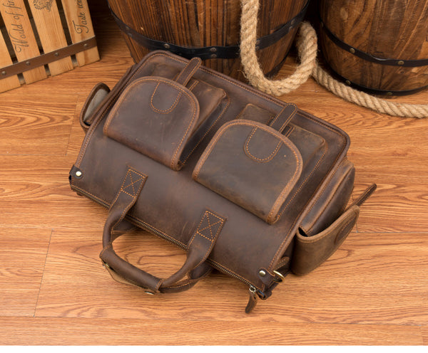 MANTIME BUCKLED HANDMADE PORTABLE LEATHER SHOULDER BAG IN BROWN