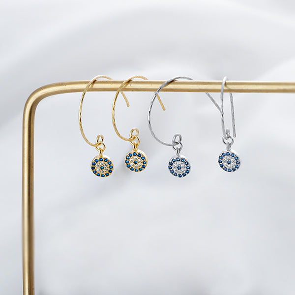 SILVER OF LIFE SILVER WITH GOLD PLATE EVIL EYE DESIGN DROP EARRINGS