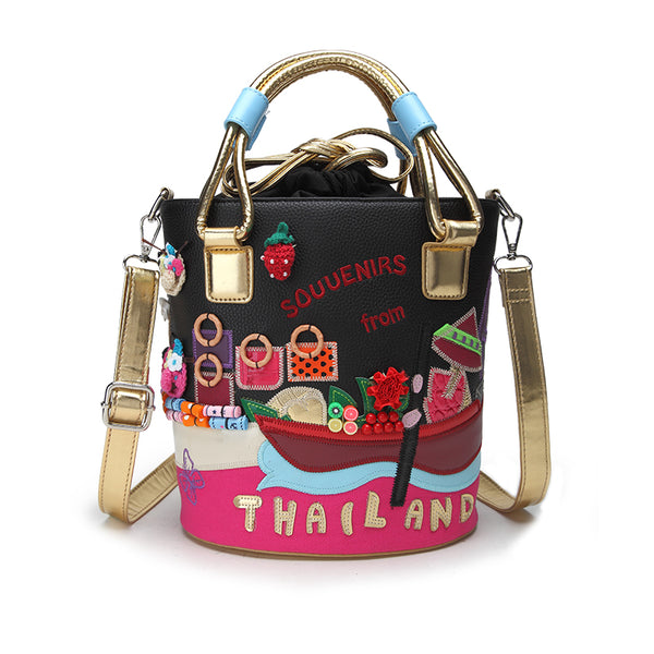 LETIFE SOUVENIRS FROM THAILAND HAND EMBROIDERED BUCKET MESSENGER BAG - boopdo