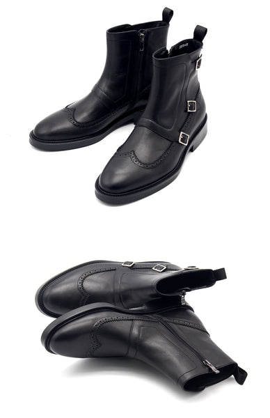 JINIWU VANGUARD MENGKE SIDE ZIPPER LEATHER BOOTS WITH BUCKLE IN BLACK - boopdo