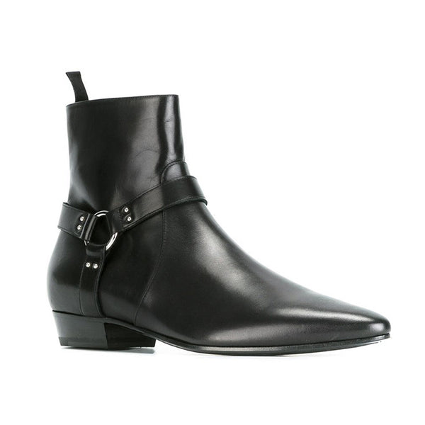 NADEMILI SEWING THREAD STYLE TOE POINTED BLACK LEATHER ANKLE CHELSEA BOOTS - boopdo
