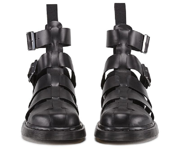 FAYEX BOOPDO DESIGN ROMAN FLAT BLACK LEATHER SANDALS
