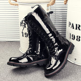 KUQI PERONI ITALY BOUTIQUE PATENT LEATHER HIGH TOP TUBE BLACK BOOTS