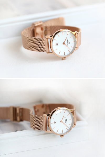 HERTZ MARK ULTRA THIN METAL BRACELET WATCHES - boopdo