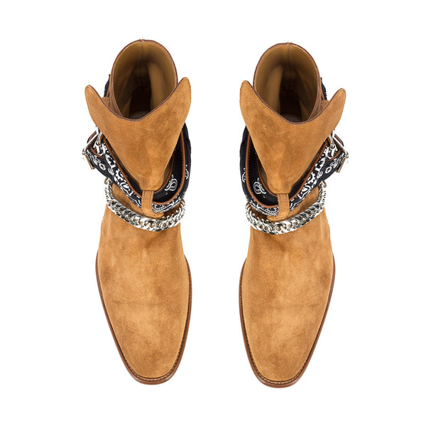 NADEMILI HORSE BIT BUCKLE SUEDE MATTE LEATHER CHELSEA BOOTS - boopdo