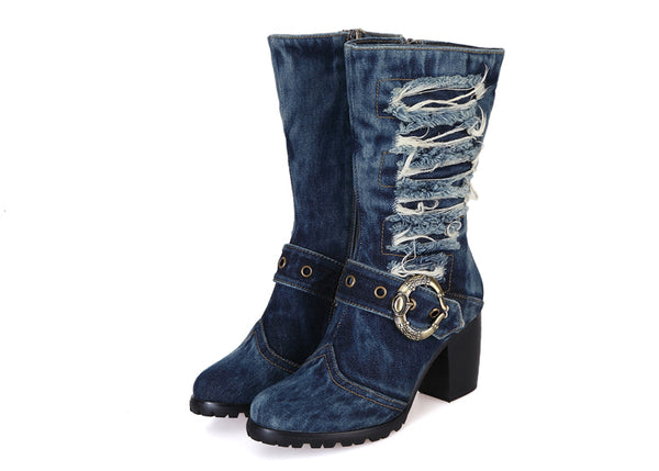 BOOPDO DESIGN EUROPXIA CANVAS DENIM JEAN HIGH HEEL BOOTS IN NAVY - boopdo