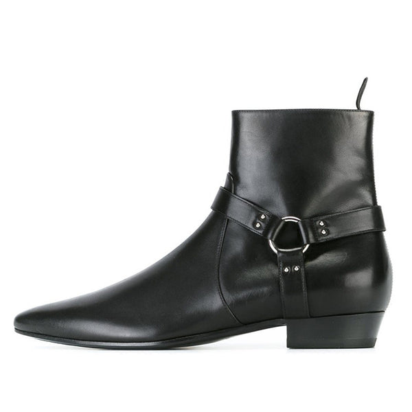 nademili sewing thread style toe pointed black leather chelsea boots