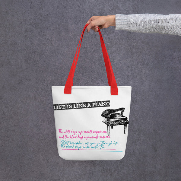 LIFE IS LIKE A PIANO DESIGN TOTE BAG - boopdo