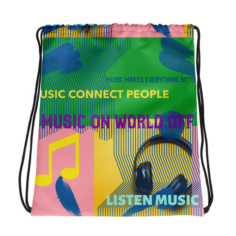 MUSIC CONNECT PEOPLE DRAWSTRING BAG - boopdo
