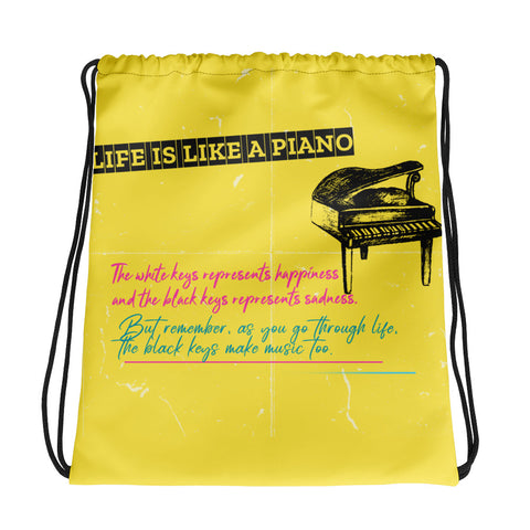 LIFE IS LIKE A PIANO DESIGN DRAWSTRING BAG - boopdo