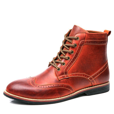 Two Tone Genuine Leather Brogue  Ankle Boots