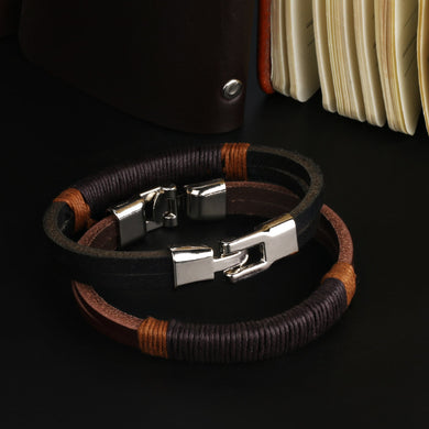 Double Layer Brown Leather Braided Rope Wristband