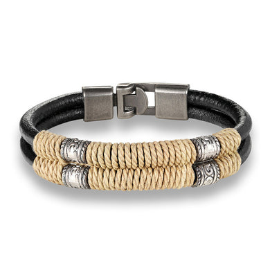 Trendy genuine braided wrap leather men wristband
