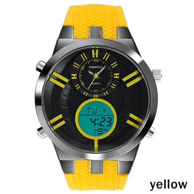 Yellow Digital LED Electronic Watch Rubber Strap