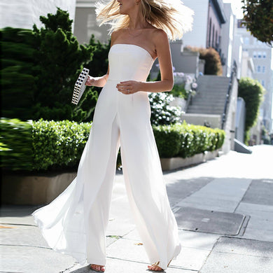 Strapless Jumpsuits Chiffon Off Shoulder High Waist