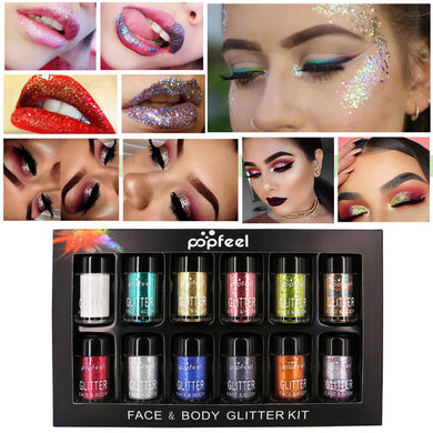12Pcs Shimmer Glitter Eye Shadow Powder Palette