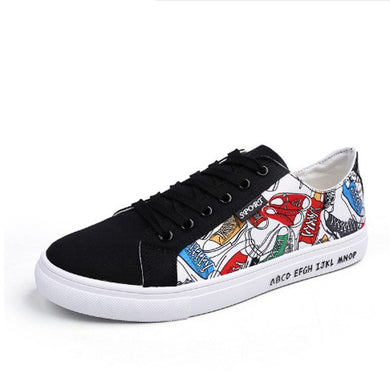 Canvas Shoes Men Casual Shoes Lace-up Graffiti