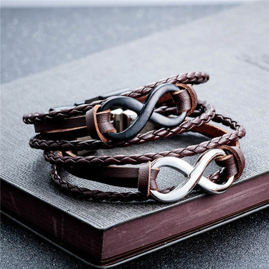 Genuine Black Leather infinity couple bracelets & bangle