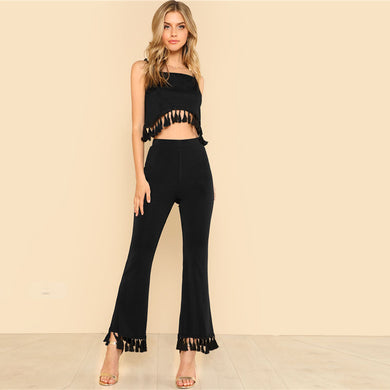 Tassel Hem Crop Top & Flare Pants Set 2 Piece